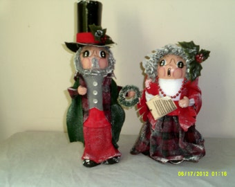Lot of Two - Vintage 1989 Hand Crafted Sweet Expressions Collector Christmas Caroler Figurines-