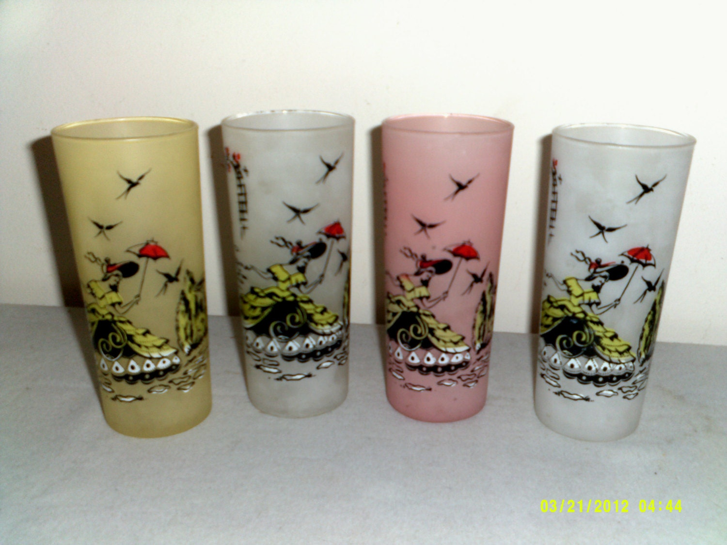 Tall Frosted Tumblers Set of Four Plantation Scenes Glasses