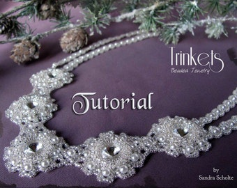 Tutorial for beadwoven Swarovski rivoli necklace 'Frozen Snow' - PDF beading pattern - DIY