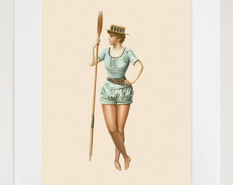 Woman With an Oar - Rowing - Crew - Early 20th Century - Art Print