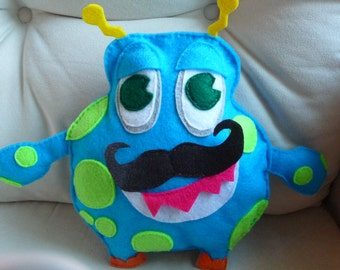 Mustache (Moustache) Monster Plush! Eco friendly felt! Fun stuffed doll! Hand Stitched one of a kind.