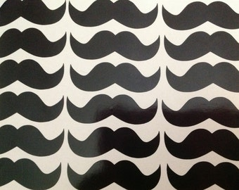 50 vinyl mustache stickers 3 inches wide