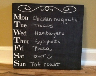 Chalkboard menu kitchen sign erasable reusable custom chalk weekly dinner
