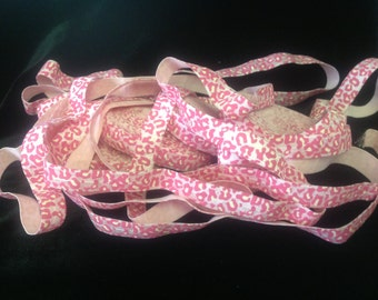 Pink with Hot Pink Cheetah Fold Over Elastic - 5 yards of 5/8 inch