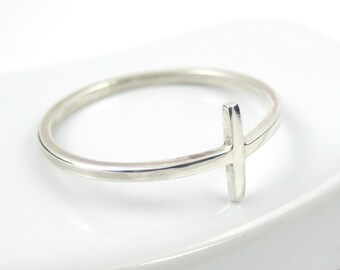 Sideways Cross Ring, Sterling Silver Ring, Silver Cross Ring, Skinny Ring, Slim Ring, Modern Ring, Sterling Silver Jewellery