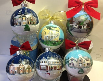 Custom Painted House Ornaments Bulb Ball 4.5""