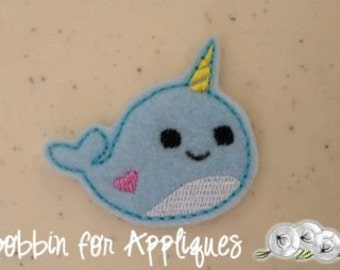 Cute Kawaii Narwhal Feltie Embroidery Design File