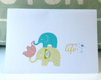 Baby Girl Congratulations Card. Baby Girl announcement cards .  Girl Baby Shower Invitations . Baby Girl Card . Elephant Family
