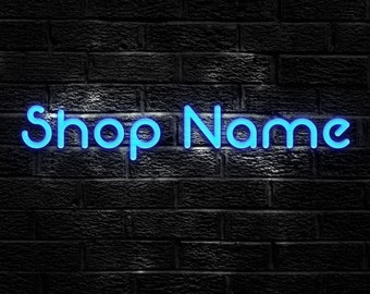 Etsy Shop Banner Set -Black Brick  Wall with realistic Blue Neon Sign, 8 Pieces