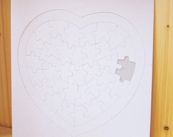 3 DIY blank heart Jigsaw puzzles, wedding guest book, kids crafts idea, craft supply, paper craft, ShineKidsCrafts