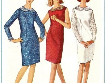 UNCUT Vintage Dress 1965 Simplicity Pattern 6291 Ladies Dress Size 12