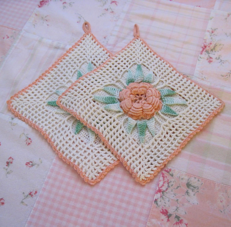 Homemade Pot Holders: 2 Pc Vintage Crochet Homemade Pot Holder Coaster White Pink