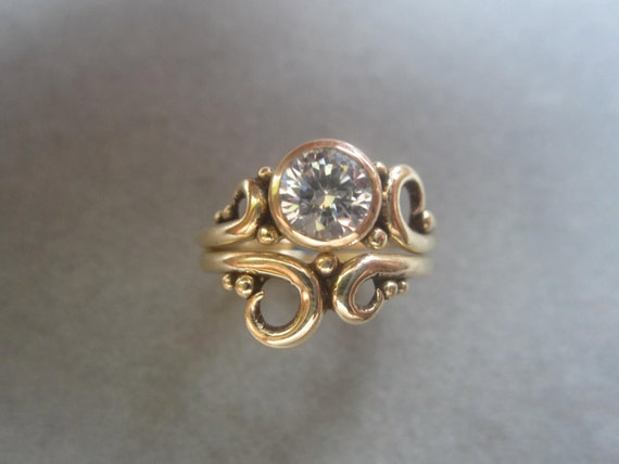 14kt Gold Solitaire Swirl Engagement Ring Amp Wedding Band Set