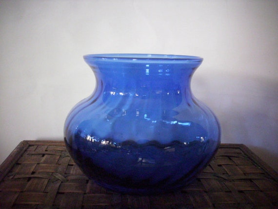 Indiana glass cobalt blue squat vase centerpiece candle