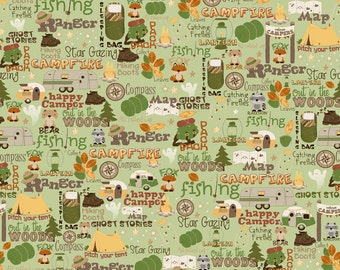 Riley Blake Fabric - Camp a Lot - Green - from a FQ to a Metre