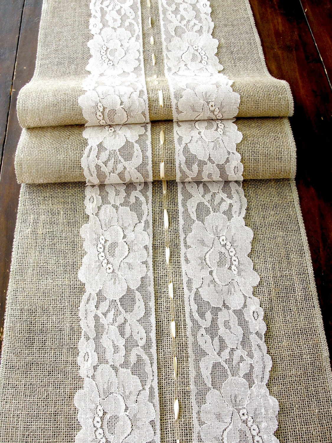 table runner with lace wedding table runner rustic romantic wedding