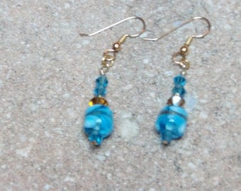 Awesome Brilliant Blue Turquoise Beaded Earrlings with Turquoise and Gold Swarovski Crystal Beads on 14K Gold Filled Earring Wires