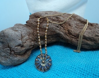 Handmade Gold Toned Necklace with Moon Glow Czech Glass Sea Opal AB Flash Mirror Back Flower Button