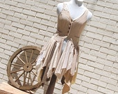 Linen Steampunk Vest, Steam Punk, Shabby, Tattered, Boho, Hippie, Gypsy, Eco Earth Friendly, Upcycled Clothing - GallimaufryClothing