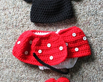 Minne Mouse Hat and Diaper Cover Set