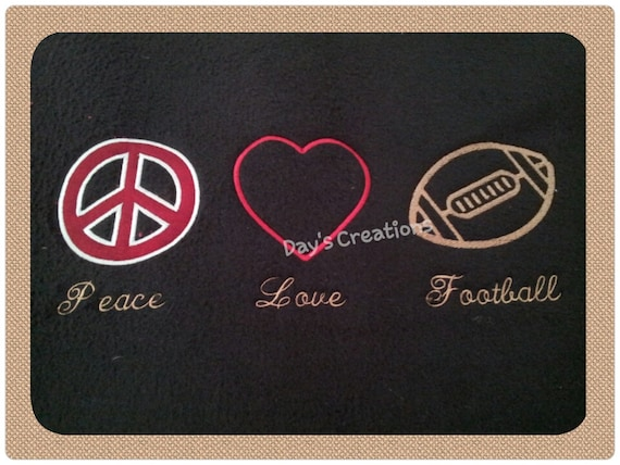 Custom football  crew neck sweatshirt - Peace Love Football crew neck sweatshirt