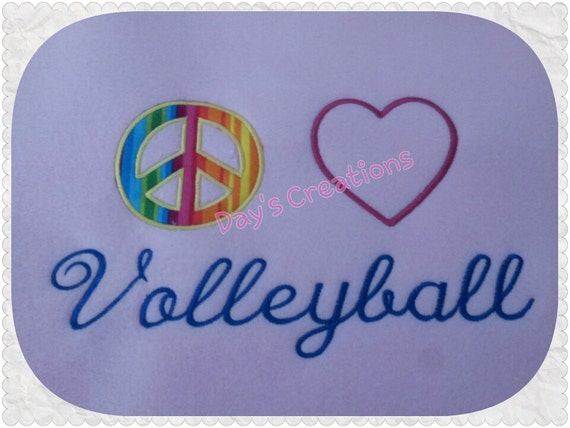 Volleyball tshirt - love peace volleyball embroidered logo t-shirt - love of volleyball shirt