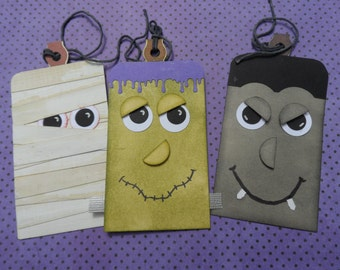 Monster Mash Tags, Halloween Tags, Mummy Tag, Frankenstein Tag, Dracula Tag, Gift Tags