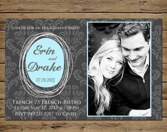 Wedding Announcement Card - Custom Save the Date Engagement Announcement - Printable - Damask