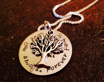Love you always forever family hand stamps necklace personalized