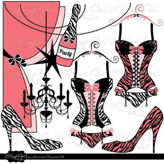 Bachelorette Party Zebra Lingerie corset clipart Digital Clip Art ...