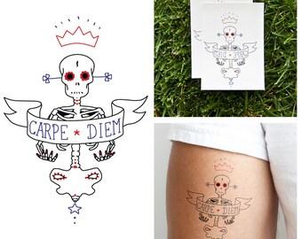 Carpe Diem Skeleton - Temporary Tattoo (Set of 2)