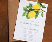 Wedding Invitation, Lemon wedding invitation, Botanical Wedding Invitation, Rustic Wedding Invitation, Invitation suite - The Lemon Branch