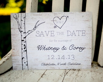 Rustic Save the Date, Save the Date card - The Woodland - birchbark, rustic wedding, save the date postcard, trees, eco, birch, woodland