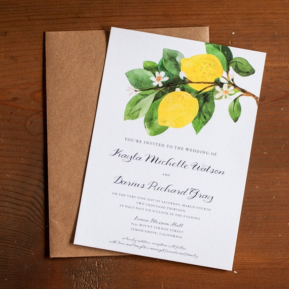 Wedding Invitation, Lemon wedding invitation, Botanical Wedding Invitation, Rustic Wedding Invitation, Invitation suite - The Lemon Branch