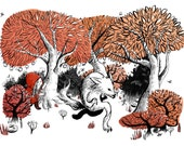 Little Red Riding Hood Print with wolf, forest A4