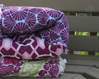 King Quilt, Rag Quilt, Joel Dewberry's Heirloom in Sapphire Collection, purple, pink, and green