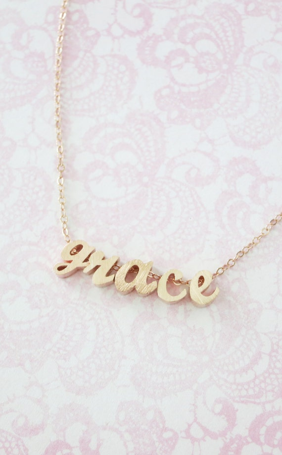 Personalized Rose Gold Name Necklace - Rose Gold Initial Rose Gold Filled Chain, monogram, friendship, custom couples bridal bridesmaid