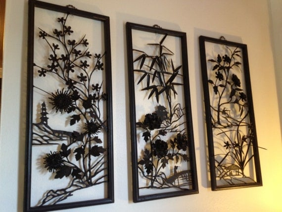 Mid century asian metal wall art for Asian wall art