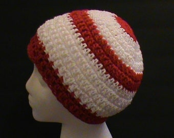Red and White Hat, Red and White-Striped Crochet Beanie, Christmas Crochet Hat, Where's Waldo, Red & White Crochet Hat, Ready to Ship #134-3