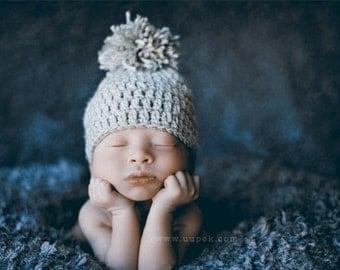 Baby Boy Hat, Pom Pom Hat, Crochet Baby Boy Hat, Photo Prop, Baby Hats, Winter Baby Hat, Baby Boy, Gray Baby Hat, Infant Hats