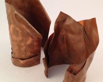 Handmade Copper Cuffs, Pair