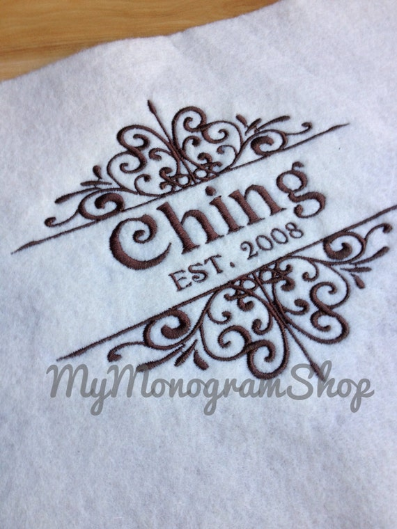 Personalized kitchen towel embroidered by
