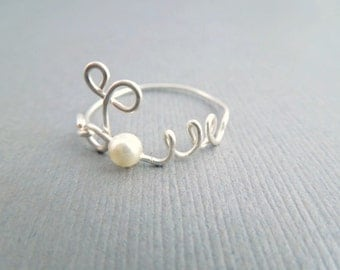 Silver Love Ring, Silver Wire Ring With Tiny Pearl
