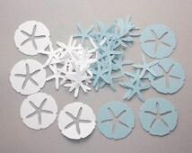 200 Blue and White Sand Dollar Confetti, Star Fish Confetti, Beach Wedding Confetti, Beach Party, Sand Dollar Decor, Beach Theme