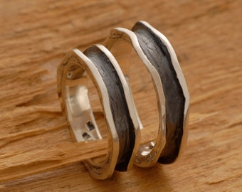 Custom Sterling Silver Wedding Rings, His and Her Wedding Bands, Unique Promise Rings, BE13