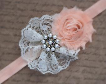ivory lace peach headband, vintage headband, shabby chic roses headband, headband
