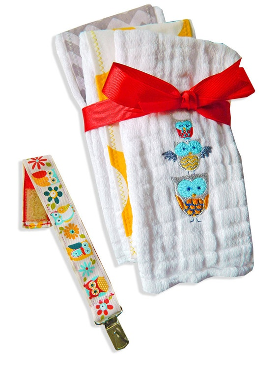Owl Combo for Baby, Burp Clothes and Pacifier Strap -- Great Gift for a Baby Shower