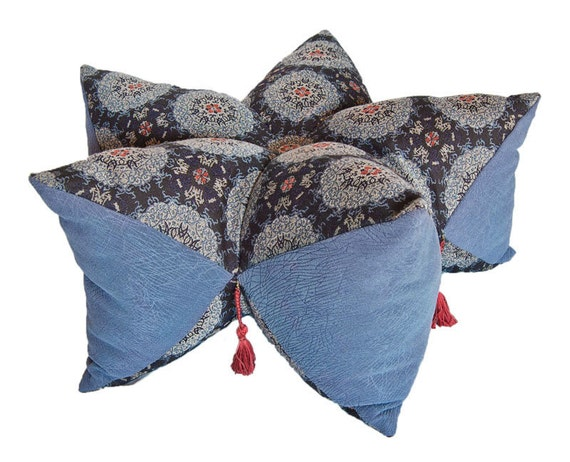 Middle eastern persian floor pillow with tassels biscofleur