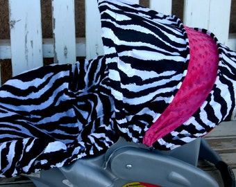 Black and white zebra with pink minky Car seat cover and hood cover