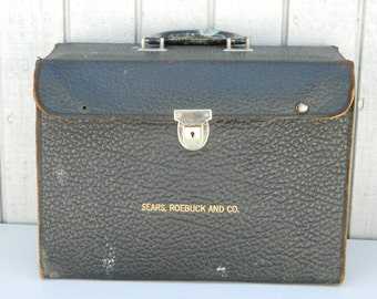 Vintage Leather Sears, Roebuck and Co. traveling salesman sample Case / Brief Case From the 1940s